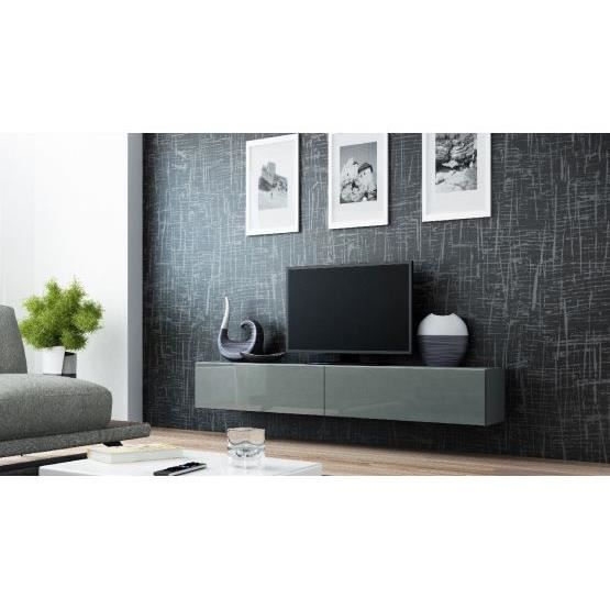 Meuble tv design suspendu vito 180cm gris achat vente for Meuble tv suspendu but