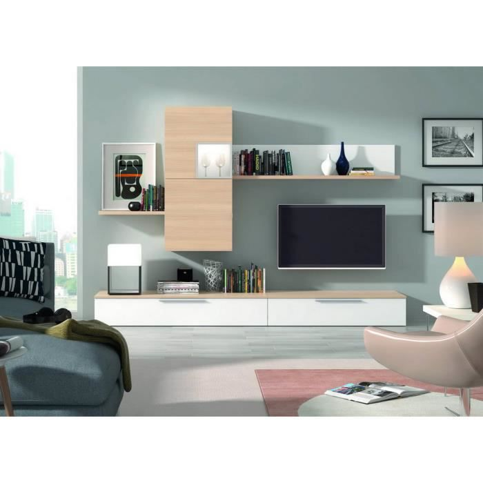 ensemble bibliotheque meuble tv finition blanc chene nordique achat vente biblioth que mob. Black Bedroom Furniture Sets. Home Design Ideas