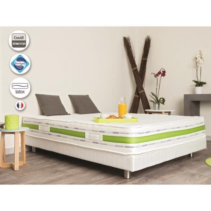 matelas 2 personnes 140x190 cm bio latex paisseur 22cm achat vente matelas cdiscount. Black Bedroom Furniture Sets. Home Design Ideas