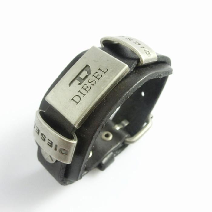 BRACELET - GOURMETTE Bracelet pour Homme Cuir Noir de avec