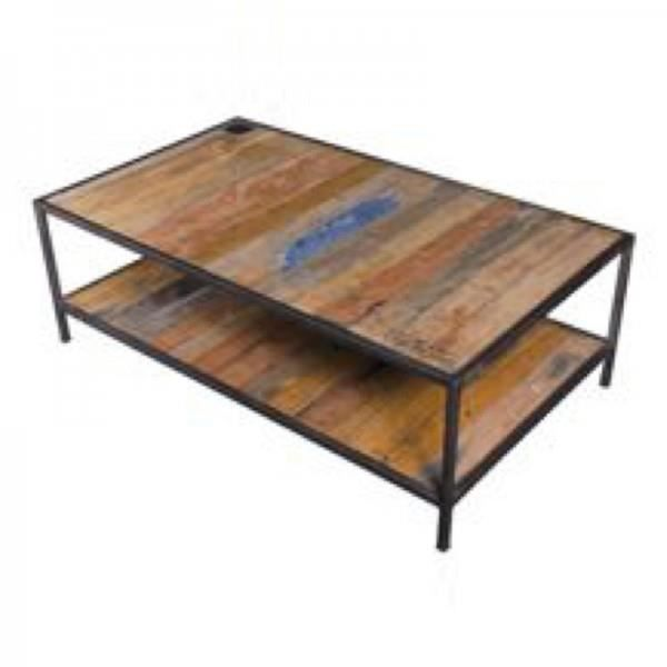 Table basse bois m tal rectangulaire achat vente table for Table de salon industriel