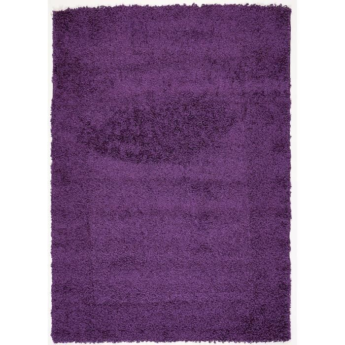 tapis de salon hautes meches shagyy first violet 120x170. Black Bedroom Furniture Sets. Home Design Ideas