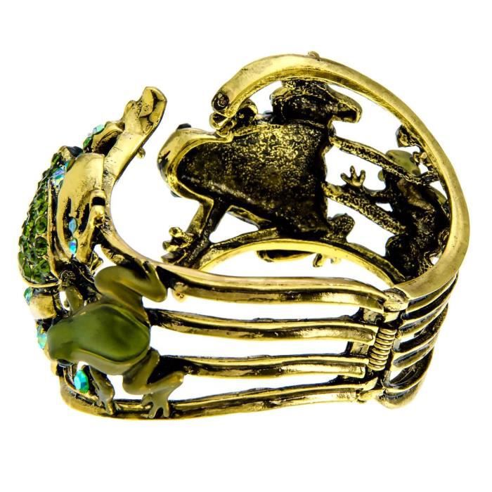 Womens Goldtone Green Crystal Double Frog Fold Over Bangle Bracelet KYK2Q