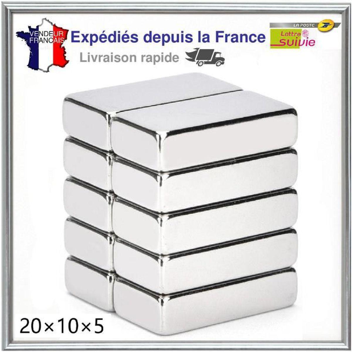 Lot Aimant Puissants Néodyme 20X10X5mm NdFeB N52 Force 4kg//aimant Magnetique