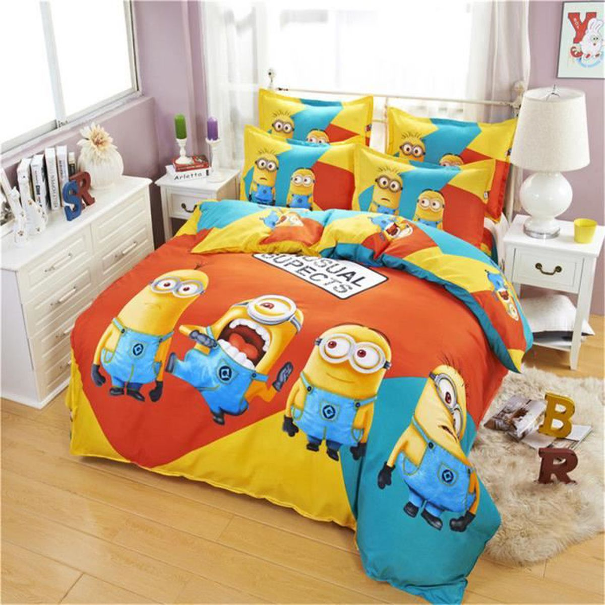 parure de lit parure de couette minions enfant 1 housse de. Black Bedroom Furniture Sets. Home Design Ideas