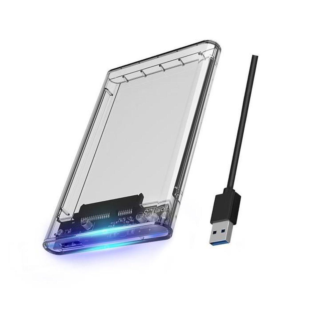 """USB 3.0 Boitier Externe pour Disque Dur 2,5/"""" SATA III 6Gb//s pour HDD et SSD"""