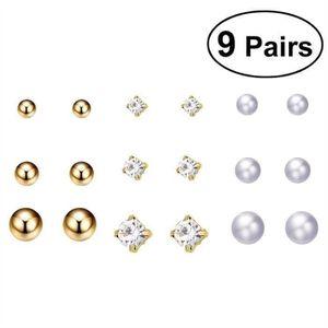 9 Paires//Set Géométrique Boucles D/'oreilles Clou Cristal Boucles D/'Oreilles Femmes Filles Cadeau Mariage
