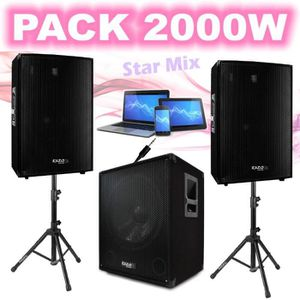 PACK SONO PACK SONO 2000W CUBE1512 + 2 PIEDS ENCEINTES + CAB