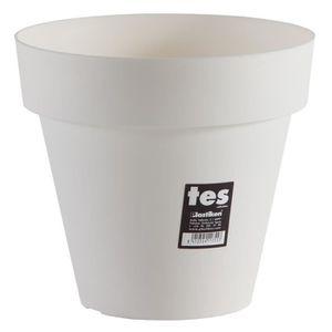 JARDINIÈRE - BAC A FLEUR PLASTIKEN Pot de fleurs Tes - 22 cm - Blanc