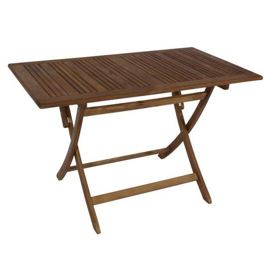 Table rectangulaire pliante salon de jardin 120x70cm bois ...
