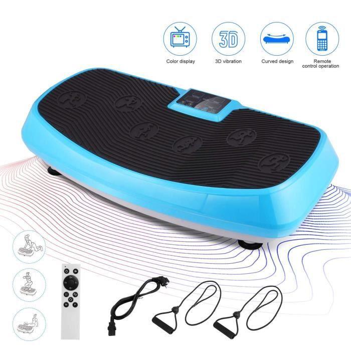 Fitness Plateforme Vibrante, ANCHEER Plaque Oscillante 3D 250W 2 Moteurs écran Tactile, télécommande + Bandes de résistance- Bleu