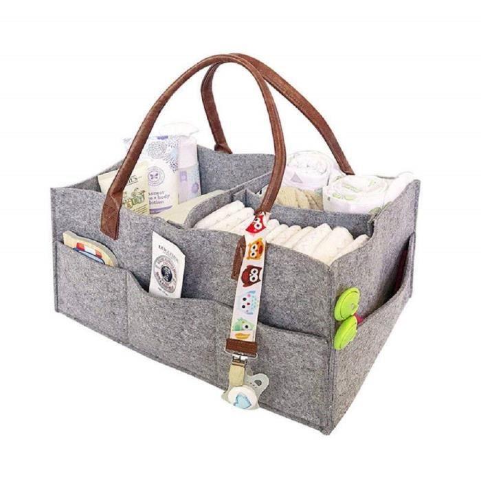 Baby Diaper Caddy Sac de rangement pour chambre d'enfant Poubelle de voiture Organiseur couches décontracté Sac à main