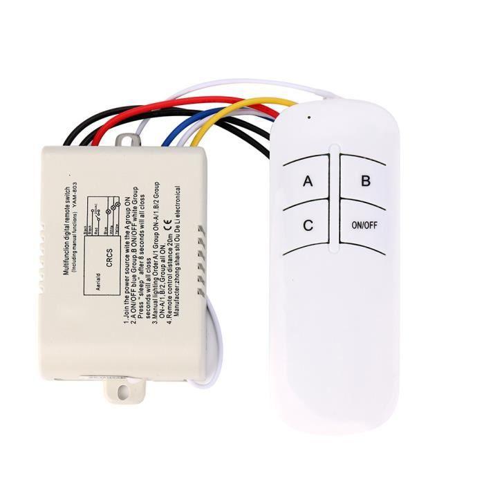 3 Voies ON / OFF 220V Récepteur Sans Fil Lumière RF Télécommande Nouveau