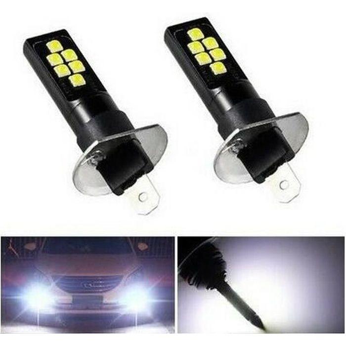 Ampoules H1 LED 12 SMD Blanc 6500K pour feux antibrouillard Auto Moto 12V