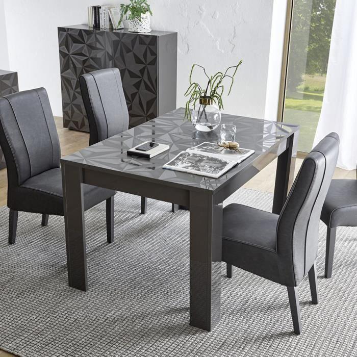 Table 140 cm avec rallonge design gris laqué ANTONIO 3 L 185 x P 90 x H 79 cm Gris