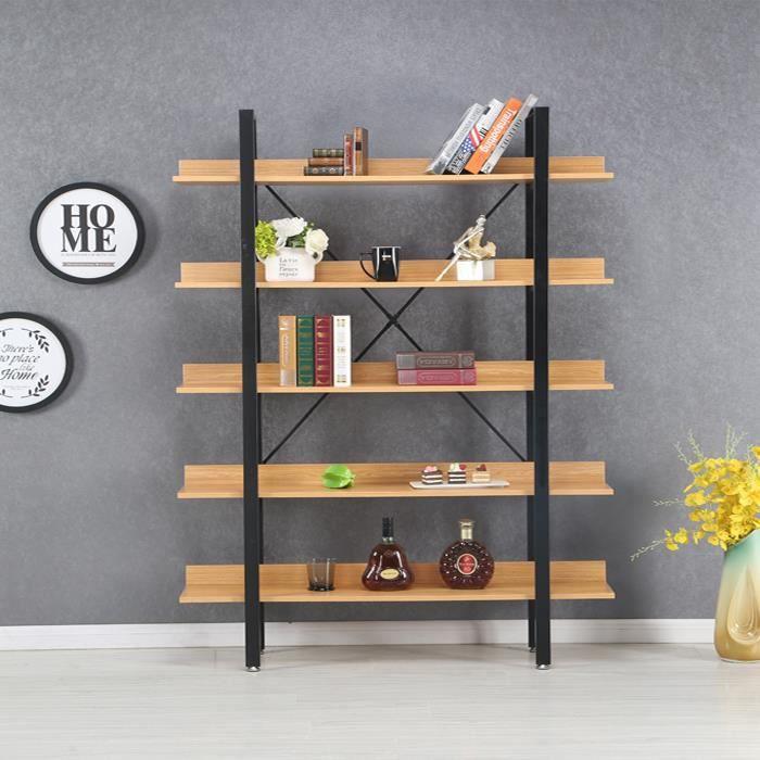 Étagères style industriel en bois clair 170cm - Kalix - DESIGNETSAMAISON