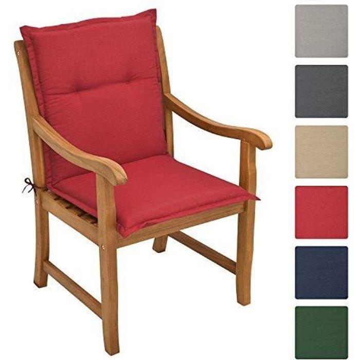 Beautissu Coussin de Chaise Longue Loft NL 100x50x6cm Rouge - Fauteuil Jardin Extérieur - Dossier Haut - Tissu épais & robuste