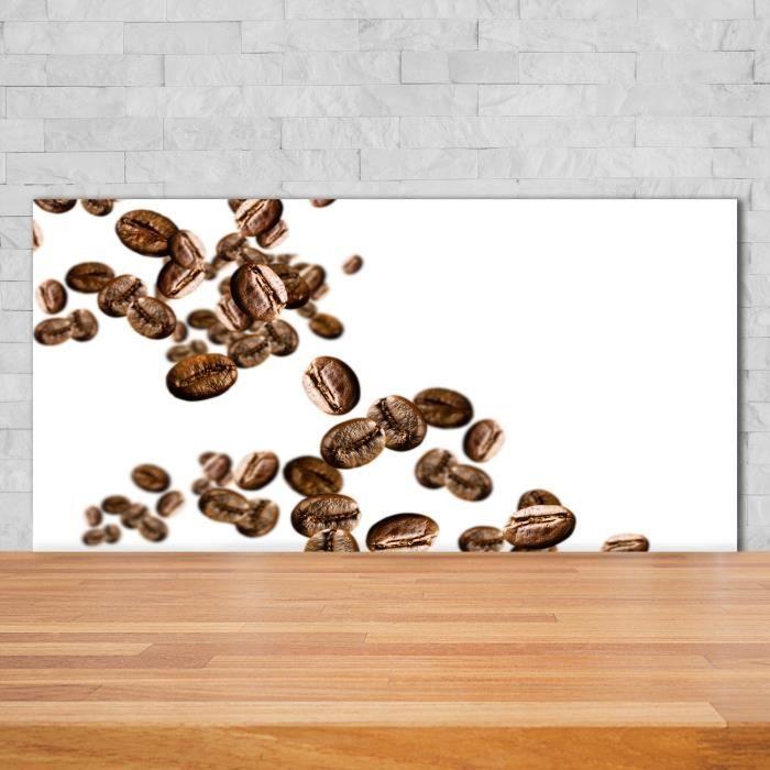 Tulup 140x70cm Crédence de cuisine sur verre sécurité:- Nourriture boissons - Grains De Café - Brun Viol