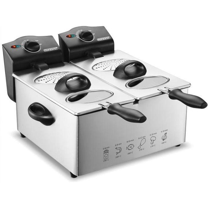 Deuba Friteuse électrique 2x3 litres 2000 watts Cuve amovible Acier inoxydable Démontable Contrôle de température