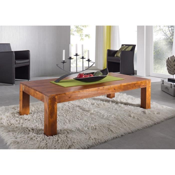 Table basse 150x75cm - Bois massif d'acacia laqué (Miel) - OXFORD #0449