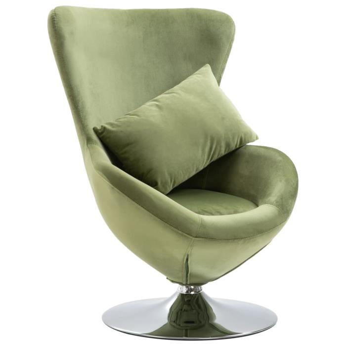 Market❀- Fauteuil Salon pivotant en forme d'œuf Chaise relaxion avec coussin Vert clair Velours��7393