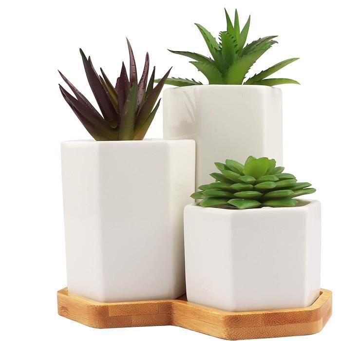 Pot de Fleur (Lot de 3)Blanc, Pot Plante en Céramique Hexagonaux pour les Plantes Grasses avec Trou de Drainage et Plateau en Bambou