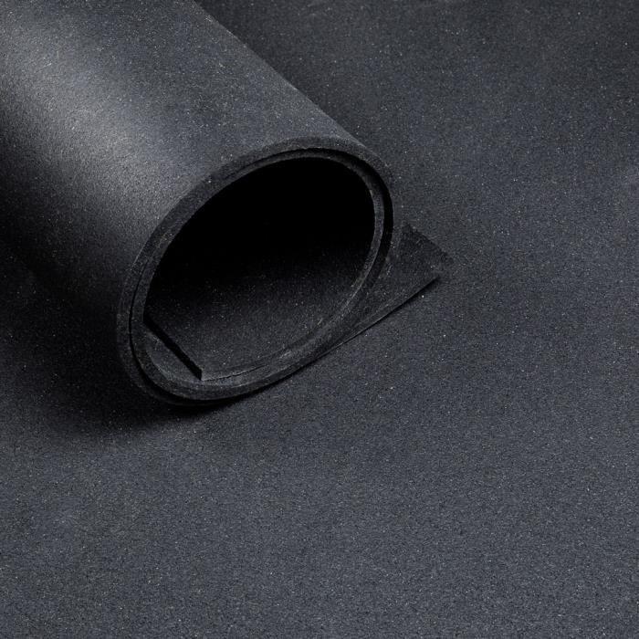 Sol pour salle de sport - largeur 1,25 m - épaisseur 6 mm - Noir (au