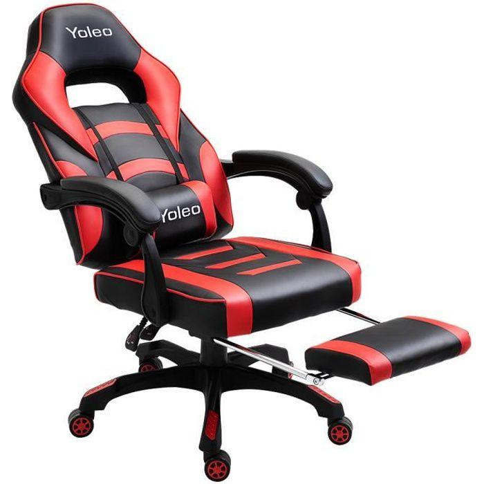 Chaise de Bureau, Fauteuil de bureau Gamer Rotation 360 degrés Hauteur Réglable Rouge et Noir