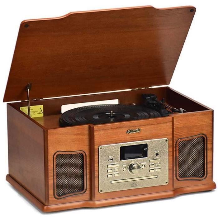 Platine Vinyle Shuman 8-en-1 Rétro Tourne-Disque, Lecteur Bluetooth, Lecteur CD, Lecteur de Ccassettes, Lecteur USB,Radio FM / Dab,