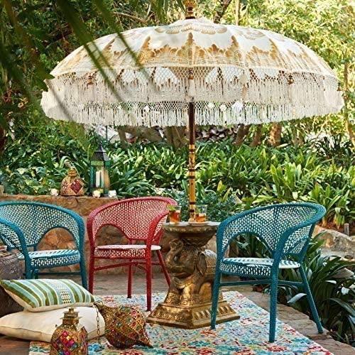 La Vida en Led Parasol Balinesa Parasol 3 m&egravetres diam&egravetre Paradise Luhur82