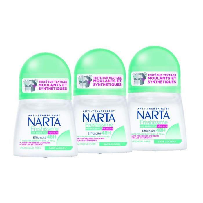 Lot De 3 - NARTA Déodorant Freshissime Fraicheur Pure Bille - 50 ml