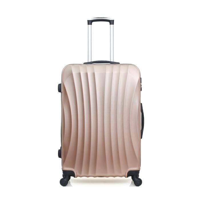 HERO – VALISE GRAND FORMAT - ABS – 70cm – 4 roues – MOSCOU-A – ROSE DORE