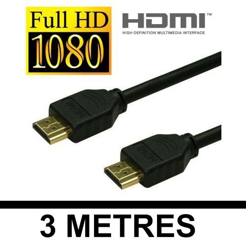 Cable 3 metres HDMI HDMI 1.3 Plaque Or - FULL HD