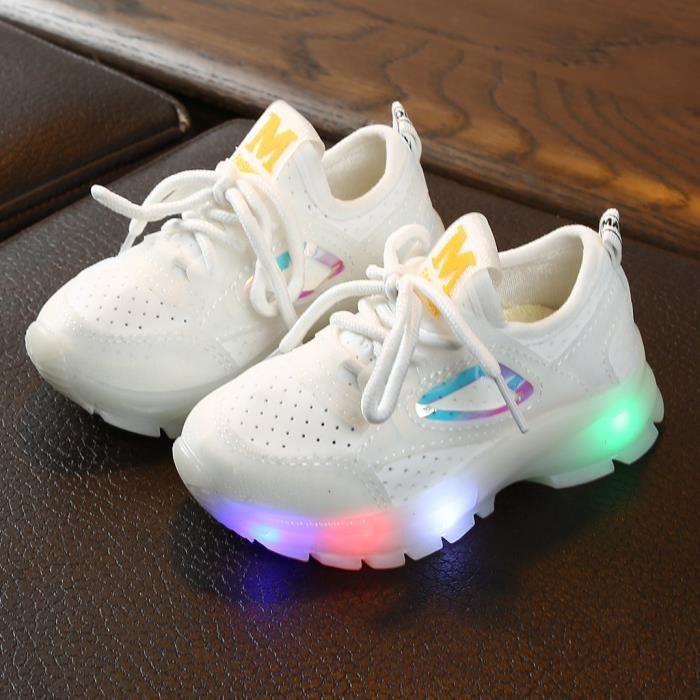 Enfants bébé filles garçons respirant maille Led lumineux Sport course baskets chaussures Blanc_bb321