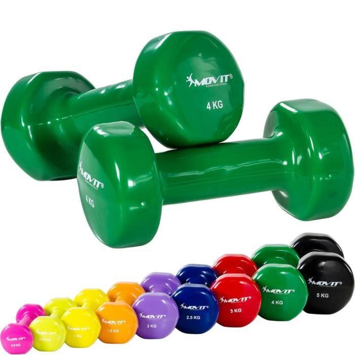 MOVIT Set de 2 haltères en vinyle vert 8 kg (2 x 4 kg)