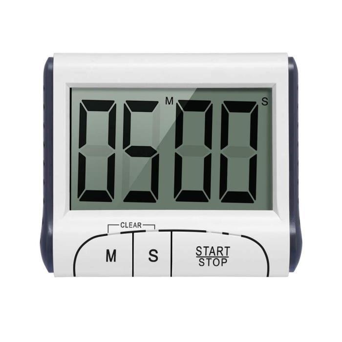 Minuterie de Cuisine Electronique Magnétique Digital 24H Minuteur Numérique avec Alarme Sonore LCD Écran Compte à Rebours