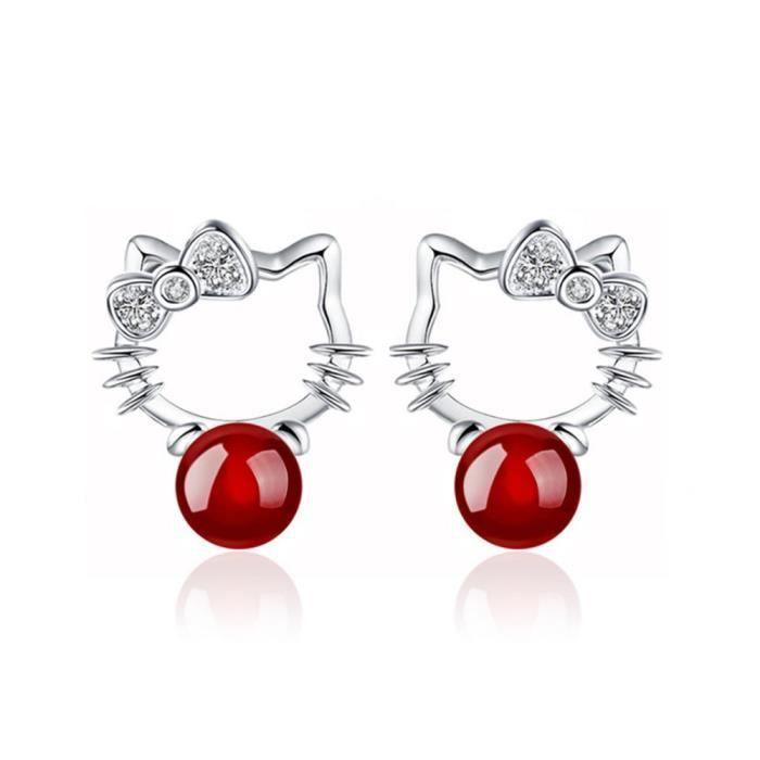 Boucles D'oreille Hello Kitty Perle de Bohême Argent 925