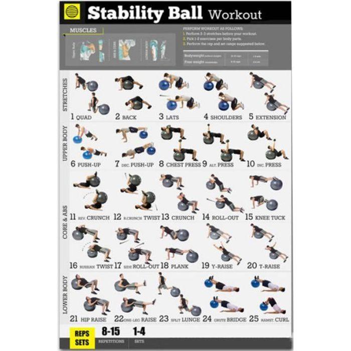 Affiche D'Exercice de Ballon de Yoga Affiche D'EntraîNement de Ballon D'Exercice de Stabilité pour le Poids Corporel à la Maison