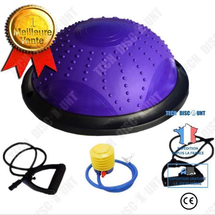 TD® ISE Balance trainer, Demi-Ballon d'Entraînement Ø 46 cm,avec Câbles de Resistance et Pompe,pour Yoga, Gymnastique,Pourpre 10525