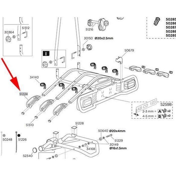 Transporteurs Pièces détachées Thule Wheel Holder 51224 Euroride 940 941 - Taille Unique - Noir