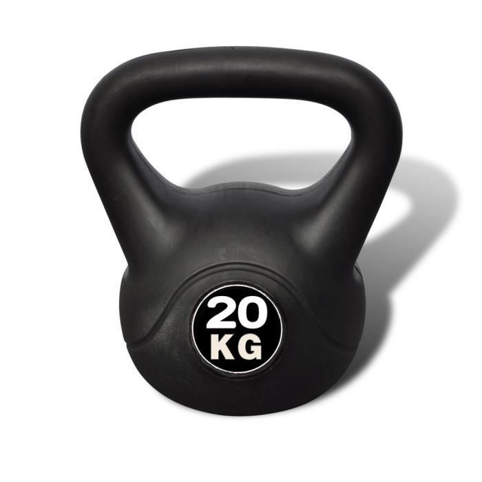 Kettlebell de 20KG professionnel exercice de force Santé de corps 25 x 25 x 36 cm en Béton avec revêtement en plastique