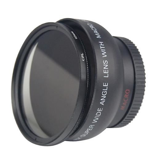 0.45x Grand Angle Camera Lens + filtre CPL Macro 46mm pour +