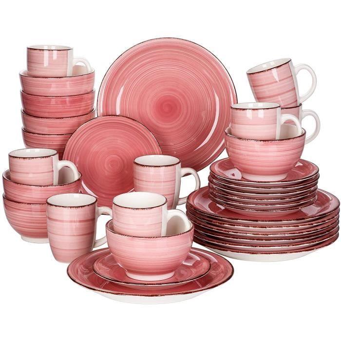 vancasso, Série Bella, Service de Table en Porcelaine,Faïence Style Vintage Rustique,Motif Cercle Arbre-rose 32pcs