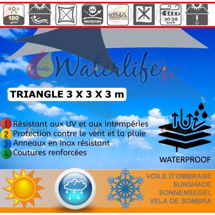 Voile d'ombrage 3x3x3m Imperméable Gris – Inox
