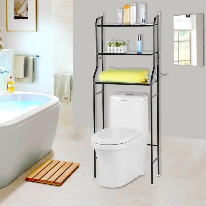 Support Rangement Meuble de Salle de Bain 3 Étagère Multifonctionnel porte  Savon Tissu Serviette Noir Au-dessus Toilettes