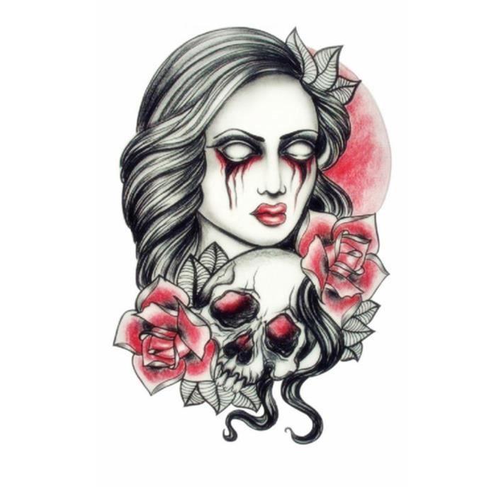 Tatouage Temporaire Realiste Femme Motif Femme Sombre Fleur Achat Vente Tatoo Bijou De Corps Tatouage Temporaire Realiste Cdiscount