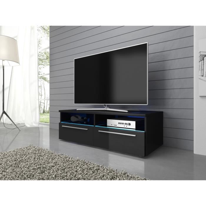 meuble tv vannes noir 100 cm avec led achat vente. Black Bedroom Furniture Sets. Home Design Ideas