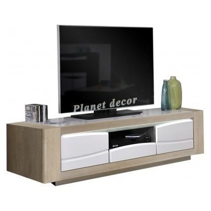 meuble tv ch ne clair et blanc 2 portes et 1 tiroir avec led modele onyx achat vente meuble. Black Bedroom Furniture Sets. Home Design Ideas