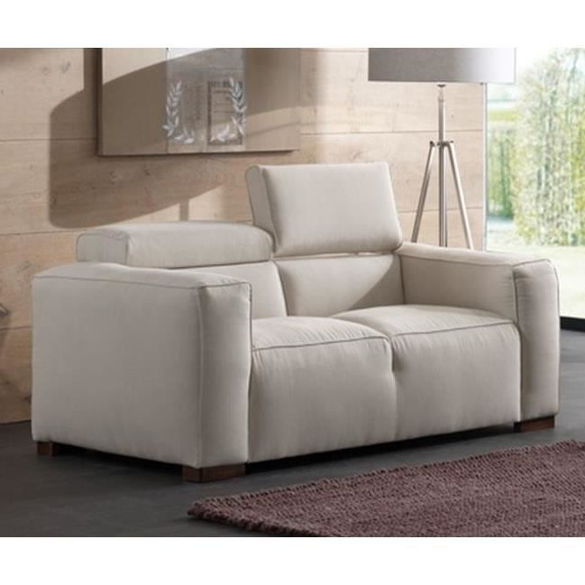 canap 2 places nora en tissus beige achat vente canap sofa divan tissu bois coton. Black Bedroom Furniture Sets. Home Design Ideas