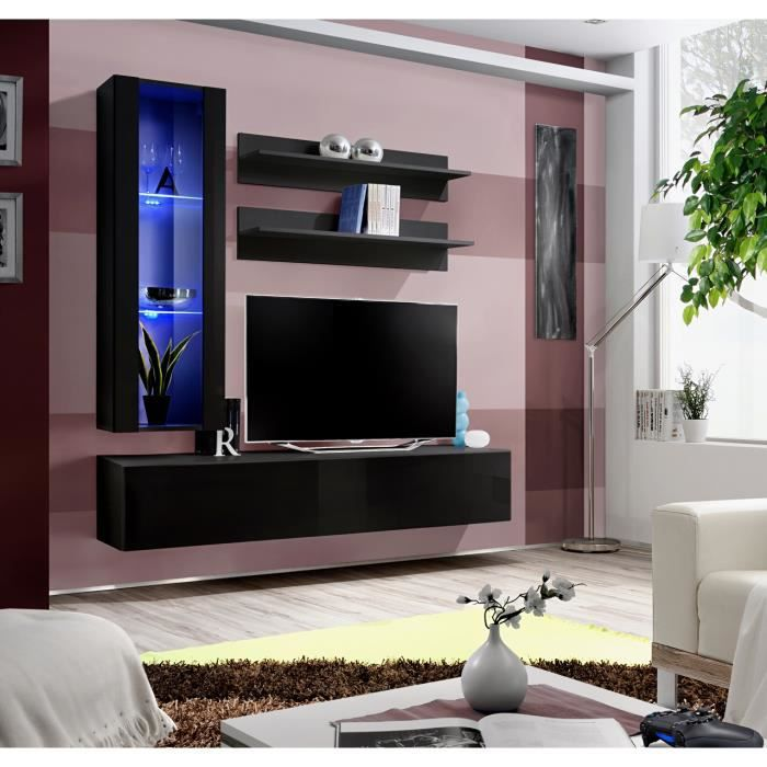 Meuble Tv Fly H2 Design Coloris Noir Brillant Meuble Suspendu